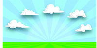 meadow, blue sky and clouds background illsutration and copy space -