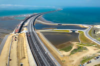 Crimean bridge before the opening of traffic on it. Grandiose co