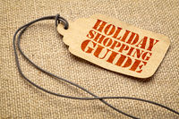 Holiday shopping guide text on a price tag
