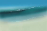 Wave on sandy beach aerial illustration