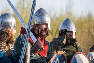 Slav warriors in reenactment battle