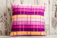 Colorful Decorative Pillow with Checkered Pattern