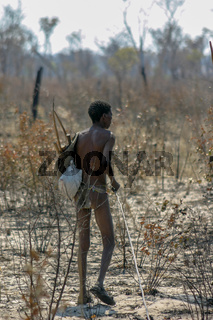 Sans tribe bushmen hunting in the surrounding bushland in Namibia