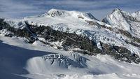 Winter in den Schweizer Alpen, Ski resort Saas-Fee, Wallis, Schweiz