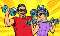 an elderly man and woman grandma grandpa retired in sports, fitness dumbbell