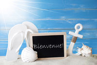 Sunny Summer Card With Bienvenue Means Welcome