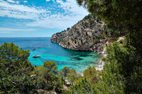 Cala Blanca Andratx picturesque landscape turquoise sea rocky mountains, Mallorca, Spain