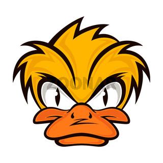 Cartoon evil face duck on the grey background.