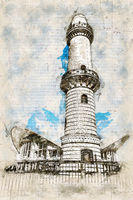 Digital artistic Sketch of a Lighthouse in Warnemuende in Germany
