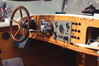 Detail of Vintage Wood Speed Boat