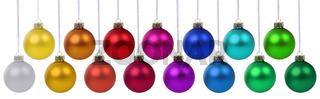 Weihnachten Weihnachtskugeln Banner Weihnachts Farben Kugeln Dekoration hängen Freisteller