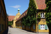 Fuggerei in Augsburg, Bayern, Deutschland