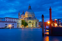 The Grand Canal  with church in Venice at night