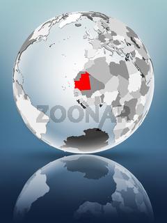 Mauritania on political globe