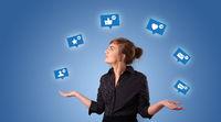 Person juggle with social media symbols
