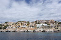 Pretty buildings Cala Fornells sea Mallorca