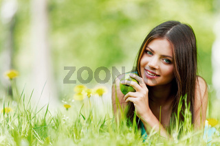 Woman on flower field