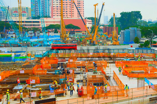 Workers construction site building. Singapore