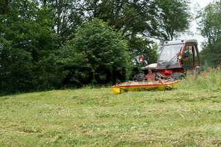 tractor with mower in front cutting a steep hillside wildflower meadow in the Alps for hay