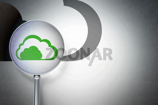 Cloud networking concept:  Cloud with optical glass on digital background