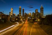 Atlanta Georgia Skyline At Night With Light Trails