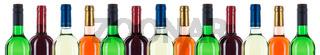 Wein Flaschen Weinflaschen Flaschenhals in einer Reihe Banner Rotwein Weißwein freigestellt