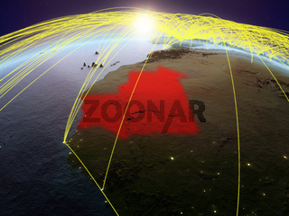 Mauritania on Earth with networks