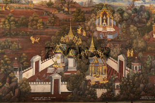White palaces in Wat Phra Kaew mural