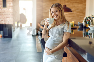 Smiling happy young pregnant woman