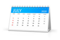 table calendar 2020 july