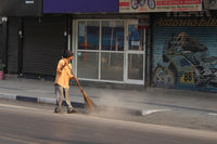 PUNE, MAHARASHTRA, INDIA, February 2019, Man clean street in the morning