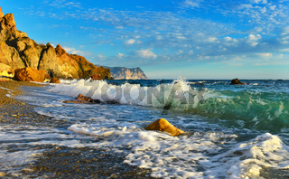 Seascape in summer with splashes