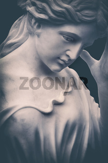 weathered white marble cemetery statue portrait
