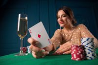 Beautiful woman playing in casino