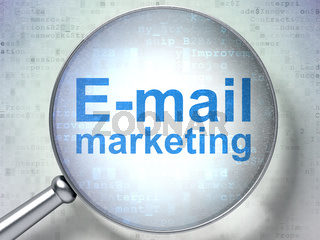 Marketing concept: E-mail Marketing with optical glass