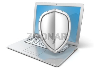 Shield covers laptop. Concept of information security. 3D