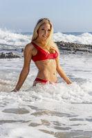 Blonde Female Model At The Beach