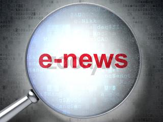 News concept: E-news with optical glass