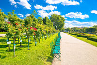 Green Volksgarten park of Vienna public garden view