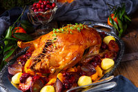 Tasty Duck roasted with thyme and Apple