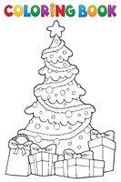Coloring book Christmas tree and gifts 2