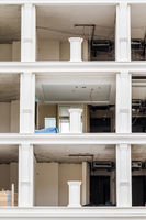 Construction of a White Building's Interior