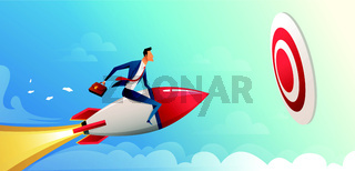 Businessman flying forward with a rocket engine to big target. Business vector concept illustration