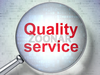Business concept: Quality Service with optical glass
