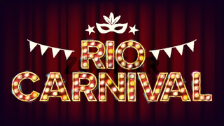 RIO Carnival Background Vector. Carnival Vintage Style Illuminated Light. For Night Party Poster Design. Vintage Illustration