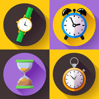 old vintage hourglass alarm clock, stopwatch, wristwatch icon vector - time clock icon set