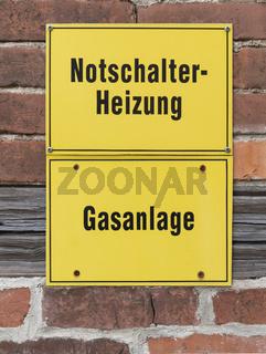 Notschalter Heizung, Gasanlage | Emergency switch heating, gas system