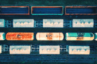 Aerial view of cargo trains. Railway wagons