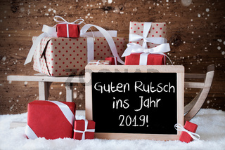 Sleigh With Gifts, Snowflakes, Guten Rutsch 2019 Means New Year