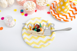 piece of cake on plate at birthday party